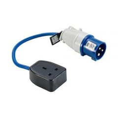 Single 13 Amp Socket Fly Lead, 250mm Cable to 16 Amp Plug, 240 Volts, IP20