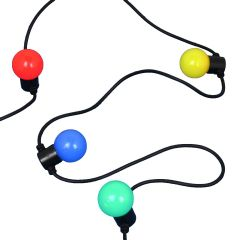 Lightweight Connectable LED Festoon Black Cable Coloured Globes (Needs transformer)