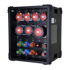 400A Powerlock Distro, 1 X Powerline straight through, 1 x 125A, 2 x 63A, 4 x 32A, 415v 5P Sockets with MCBs & Digital Meter