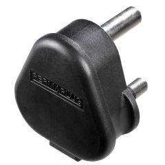 Black Heavy Duty Plastic 15 Amp Plug, 250 Volt, 3 Pin by Permaplug