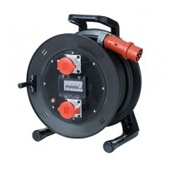 25m 32A 400v Titan Power Extension Reel with 2 x 32A Three Phase Sockets with 4P Breaker