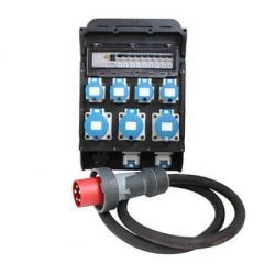 Titan 63A 415v S13.1 Distro- 63A 2m 16.0mm 5core Ho7 - 3 x 32A 230v 6 x 16A 230v Sockets with RCD & MCB protection