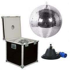 Mirror Ball Package - 16 inch Disco Ball with Flight case and Motor 16a fitted Plug