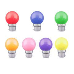 10 x Coloured BC Golf Ball Shatterproof Lamps - Festoon Package