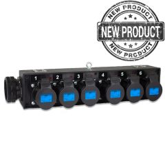 Socapex Break Out with 6 x 16A Black Sockets side