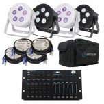 5PX HEX Package - Black or White - 4, 6 or 8 lights With PowerCon, DMX cables and a Lighting Desk