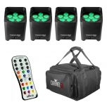 Chauvet Battery Event Kit, 4 x Uplighters FREE Bag & Remote