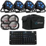ADJ Mega Hex Par Package 4, 6 or 8 Lights With Power and DMX Combo Leads