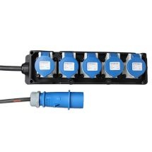16A H/D Rubber Socket Board with 5 x 16A sockets